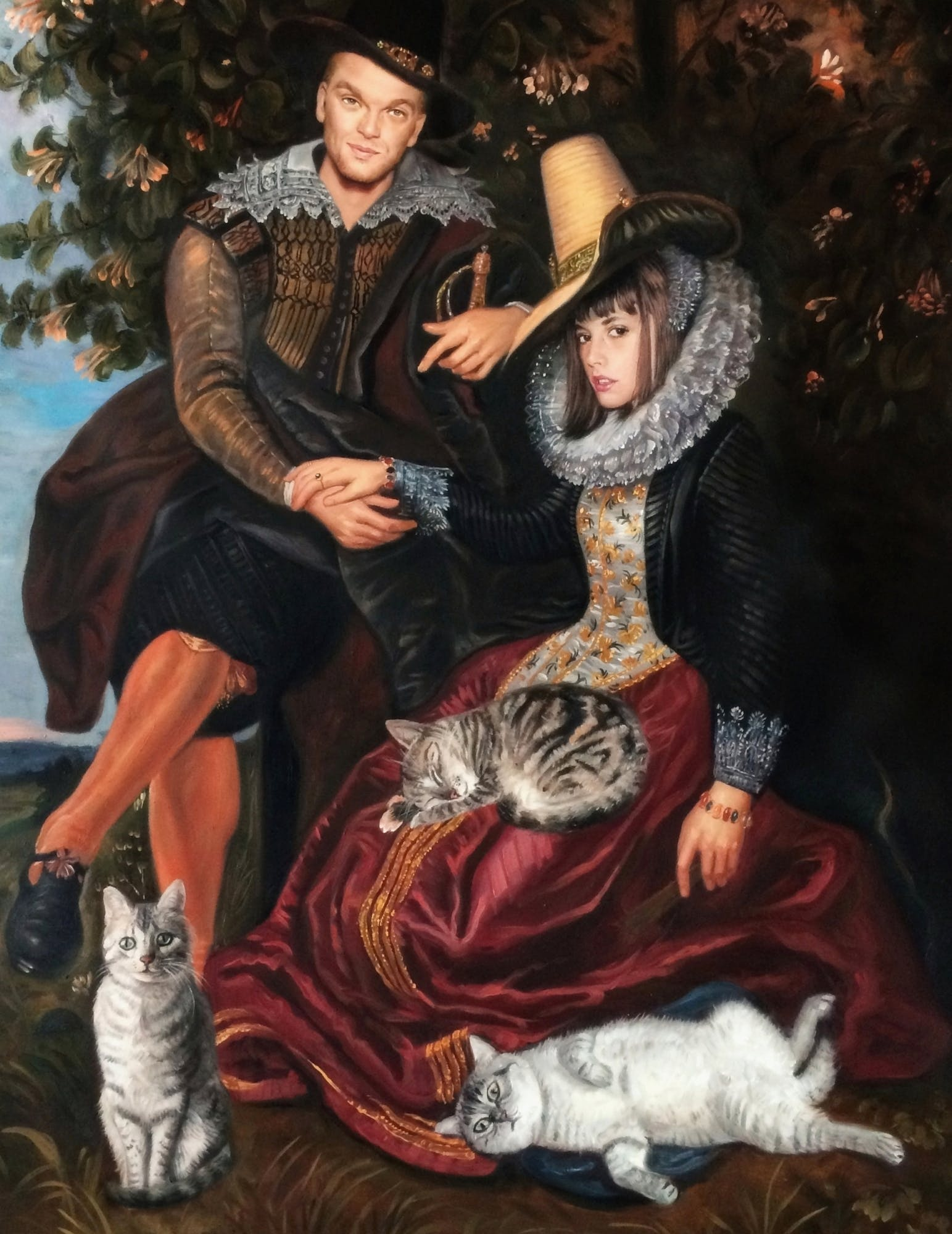 Renaissance painting of a man and woman posin with their 3 cats