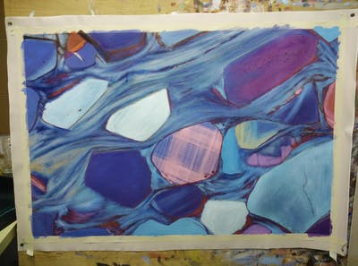 A painting of blue, aqua, water, turquoise, art, azure, modern art, painting, organism, acrylic paint