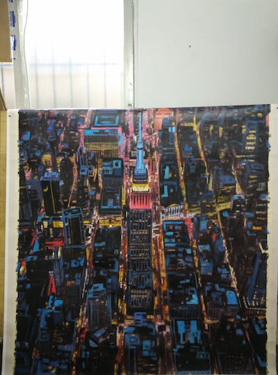 A painting of metropolitan area, city, metropolis, cityscape, urban area, aerial photography, water, bird's eye view, night, skyline
