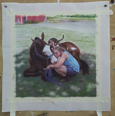 A painting of horse, horse harness, halter, horse tack, bridle, rein, horse like mammal, mare, horse supplies, saddle