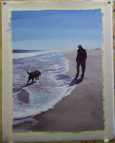 A painting of beach, body of water, dog, sea, sky, shore, ocean, sand, water, coast