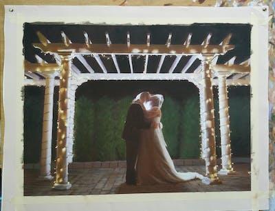 A painting of ceremony, light, lighting, event, tradition, darkness, night, decor, christmas lights, wedding