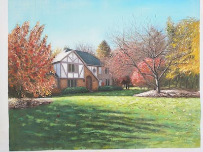A painting of home, house, nature, property, leaf, tree, cottage, lawn, estate, real estate