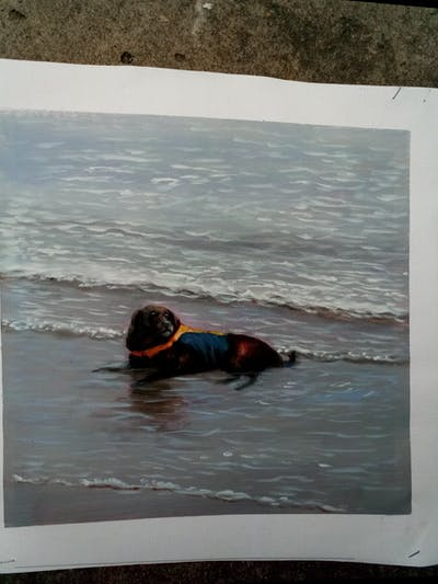 A painting of dog, dog like mammal, shore, wave, beach, sea, water, ocean, sand