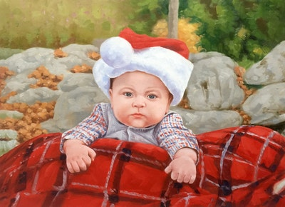 A painting of red, child, infant, toddler, headgear, christmas, smile, fun, hair accessory, holiday