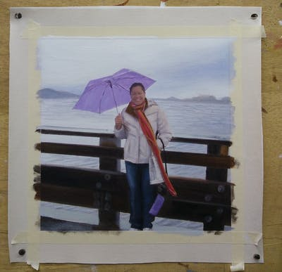 A painting of vacation, umbrella, outerwear, sea, fun, tourism, travel