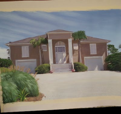 A painting of home, house, property, real estate, residential area, siding, estate, cottage, facade, elevation