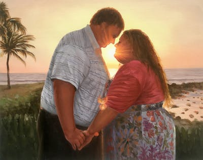 A painting of photograph, romance, love, fun, evening, interaction, sky, sunlight, sun, sunset