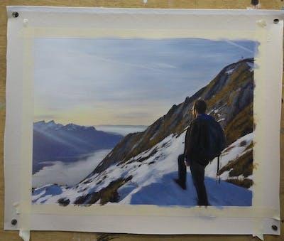 A painting of mountainous landforms, sky, mountain, mountain range, ridge, winter, mountaineering, mountaineer, snow, arête