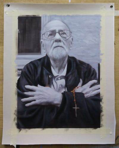 A painting of man, white, black, photograph, person, glasses, black and white, vision care, photography, male