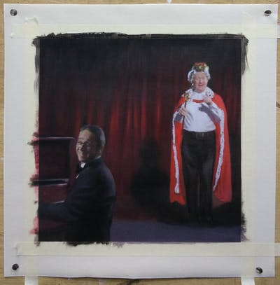 A painting of performance, performing arts, theatre, stage, darkness, drama, musical theatre, performance art, acting, event
