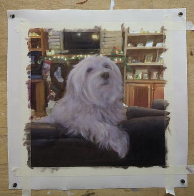 A painting of dog, dog like mammal, maltese, dog breed, mammal, vertebrate, dog breed group, bichon, havanese, coton de tulear