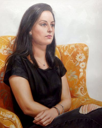 A painting of sitting, shoulder, girl, leg, black hair, photo shoot, furniture, brown hair, neck