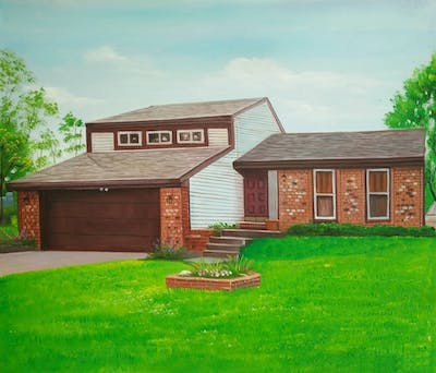 A painting of home, house, property, yard, siding, real estate, lawn, residential area, cottage, neighbourhood