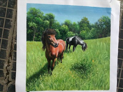 A painting of horse, pasture, horse like mammal, ecosystem, mare, grass, stallion, mane, grassland, mustang horse
