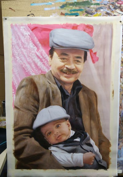 A painting of headgear, smile, tradition, father, child, hat, product, family