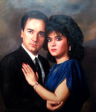 A painting of lady, formal wear, black hair, suit, photo shoot, fun, girl, gentleman, love, actor