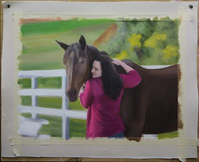 A painting of horse, stallion, horse like mammal, mane, mare, rein, horse supplies, bridle, horse tack, mustang horse