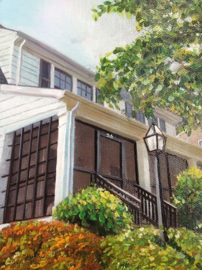 A painting of home, house, property, neighbourhood, residential area, cottage, tree, architecture, real estate, plant