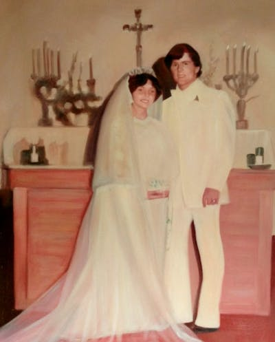 A painting of gown, pink, photograph, wedding dress, bride, dress, bridal clothing, formal wear, marriage, wedding