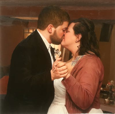 A painting of photograph, man, ceremony, wedding, event, bride, interaction, groom, romance, love