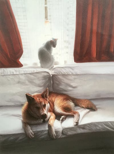 A painting of cat, mammal, small to medium sized cats, vertebrate, room, dog, couch, cat like mammal, dog breed group, whiskers