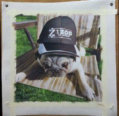 A painting of pug, dog, dog like mammal, mammal, dog breed, snout, grass, carnivoran, dog crossbreeds