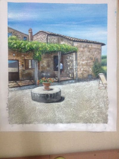 A painting of property, sky, cottage, house, village, home, real estate, farmhouse, facade, villa