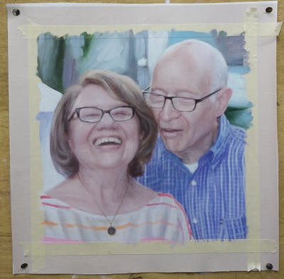 A painting of senior citizen, people, glasses, community, smile, vision care, fun, socialite, grandparent, professional
