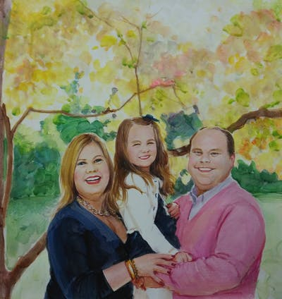 A painting of people, photograph, photography, fun, smile, family, tree, portrait photography, girl