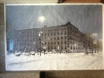A painting of snow, winter, landmark, town, building, urban area, sky, freezing, architecture, tree
