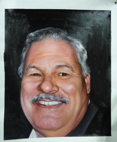 A painting of face, person, man, chin, facial hair, moustache, nose, forehead, eyebrow, head