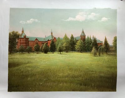 A painting of grassland, field, meadow, prairie, farm, tree, land lot, rural area, grass, pasture