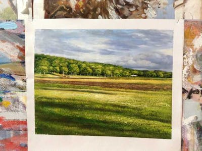A painting of grassland, field, sky, plain, pasture, cloud, meadow, grass, prairie, rural area
