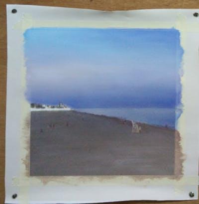A painting of ecosystem, sky, horizon, ecoregion, grassland, steppe, plain, prairie, savanna, aeolian landform