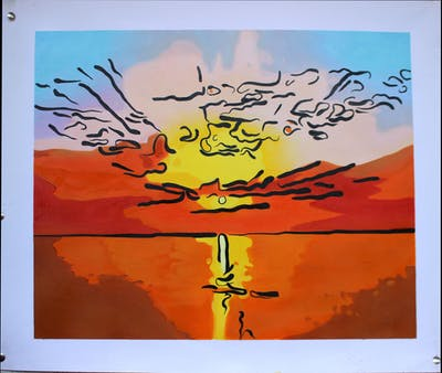 A painting of art, cartoon, orange, vertebrate, sky, visual arts, illustration, computer wallpaper, bird, font