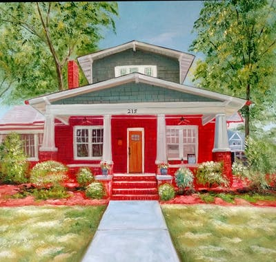 A painting of home, house, property, real estate, cottage, porch, yard, siding, estate, residential area