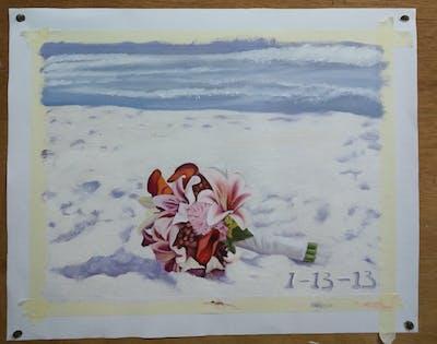A painting of photograph, gown, flower, bridal clothing, bride, pink, wedding dress, dress, romance, petal