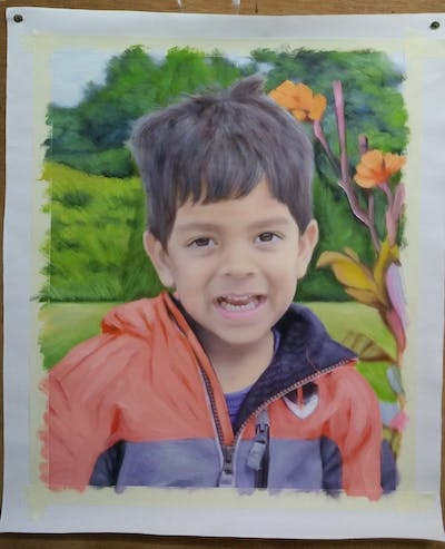A painting of child, facial expression, boy, smile, fun, toddler, child model