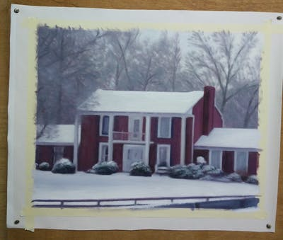 A painting of snow, home, winter, house, property, residential area, building, cottage, roof, sugar house