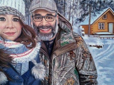 A painting of winter, snow, tree, freezing, fun, smile, headgear, recreation