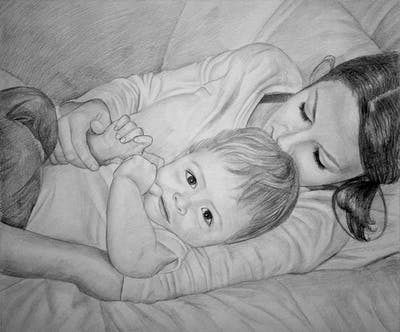 A painting of nose, child, bed, finger, hand, girl, infant, arm, mouth, product