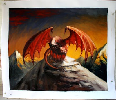 A painting of dragon, mythical creature, mythology, fictional character, geological phenomenon, wing, demon, extinction, cg artwork, painting