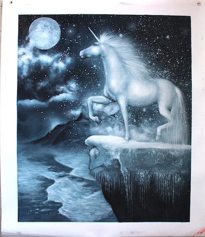 A painting of black and white, sky, monochrome photography, mythical creature, unicorn, atmosphere, water, phenomenon, freezing, monochrome