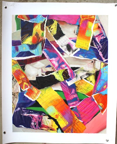 A painting of purple, textile, material, collage, pattern, art, magenta, linens
