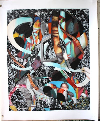 A painting of art, collage, graphic design, design, photomontage, illustration, graphics, pattern, font, modern art