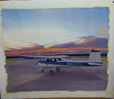 A painting of aircraft, light aircraft, airplane, cessna 150, mode of transport, cessna 152, flight, air travel, propeller driven aircraft, sky