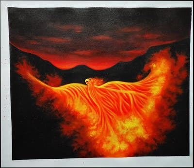 A painting of flame, geological phenomenon, sky, phenomenon, heat, fire, darkness, computer wallpaper