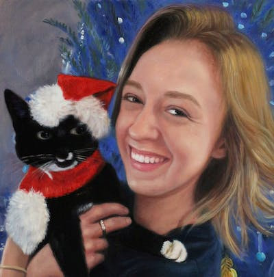 A painting of skin, facial expression, mammal, vertebrate, smile, purple, christmas, fun, girl, textile