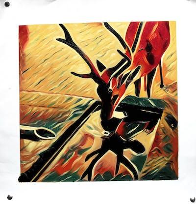 A painting of art, modern art, illustration, antler, organism, fictional character, design, computer wallpaper, fiction, pattern